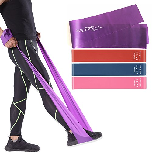 Resistance Fitness Bands Rehab Pilates Band, Set of Three Mini Loop Bands and One Long Resistant Leg Band by Your Choice