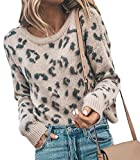 HZSONNE Women's Casual Leopard Crew Neck Loose Fit Sweater Long Sleeve Slouchy Pullover Knitted Fuzzy Jumper Tops Apricot