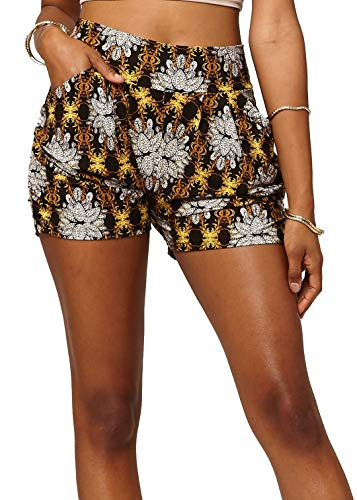 (Premium Ultra Soft Harem High Waisted Shorts for Women with Pockets - Golden Lotus - Large/X-Large (12-18) - NHS-F640-LX)