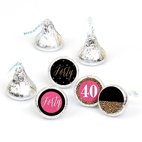 (Chic 40th Birthday - Pink, Black and Gold - Round Candy Sticker Favors – Labels Fit Hershey's Kisses (1 sheet of 108))