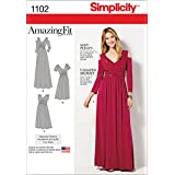 SIMPLICITY Patterns 1102 Misses and Plus Size Amazing Fit Dress in Knit, AA (10-12-14-16-18)