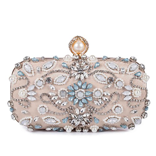 Chichitop Women Folral Pearl Beaded Rhinestone Evening Clutches Wedding Party - Mk Rose Gold Bag