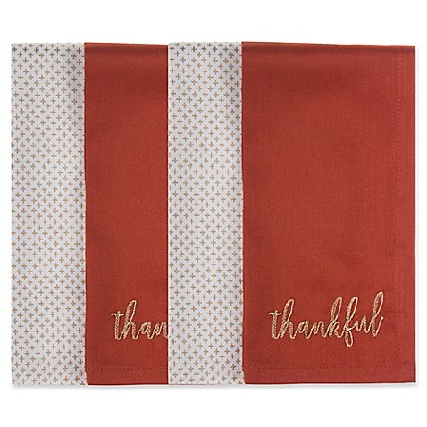 ''Thankful'' Harvest Napkins in Rust/Gold 4pcs. (Set of 5)