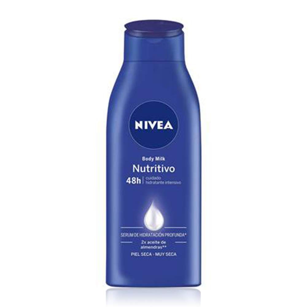 NIVEA Body Milk Nutritivo Leche corporal para una hidratación profunda durante 48 h, crema hidratante corporal con aceite de almendras para piel muy ...