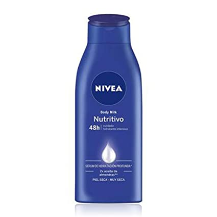 NIVEA Body Milk Nutritivo (1 x 400 ml), leche corporal para una hidratación profunda durante 48 h, crema hidratante corporal con aceite de almendras ...