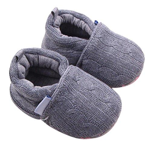 Newborn Crib Shoes,Kimanli Fashion Baby Sneaker Anti-slip Soft Sole Toddler Shoe (0~6 months, Gray)