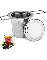 Sanyi Tea Strainer, Stainless Steel Tea Strainer Tea Infuser Tea Leak Steeper Filter Foldable Handle Design, Loose Tea Strainer with Lid Suitable for Most Tea-Making Appliances