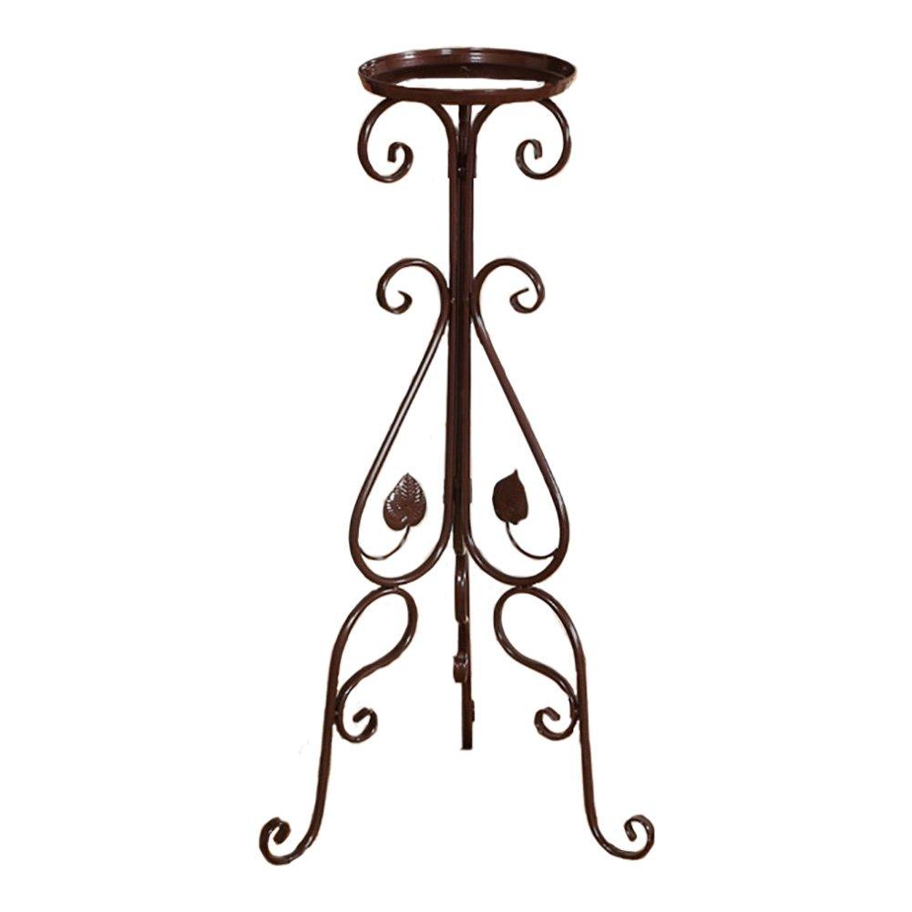 フラワーポット ヨーロッパスタイルのシングルフラワースタンドアイアンアートフロアスタンディングシェルフバルコニー (色 : ブラウン ぶらうん) B07D8XZD4R  ブラウン ぶらうん