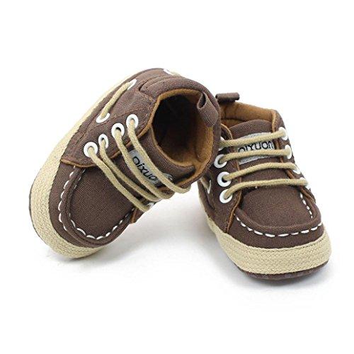 Tefamore Zapatos Del Pesebre Las Zapatillas de Deporte Suaves De Los Muchachos De Las Muchachas Del Niño Atan Para Arriba Los Prewalker marrón