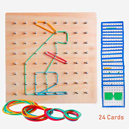 Wooden Geoboard Mathematical Geometry Manipulative Material Array Block Geo Board Graphical Educational Shape STEM Puzzle Toys with 24Pcs Pattern Cards and Rubber Bands Matrix 8x8 Brain Teaser for Kid (Rubbers For School)