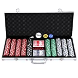 ZENY Pro Poker Chip Set with Carrying Case, Cards, Buttons and 500 Dice Style Casino Chips 11.5 gram