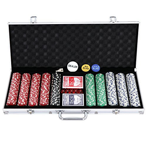 ZENY Pro Poker Chip Set with Carrying Case, Cards, Buttons and 500 Dice Style Casino Chips 11.5 gram by ZENY