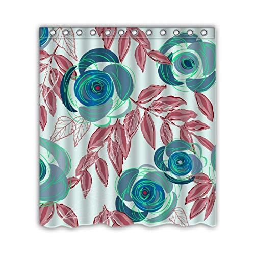 Giraffe Blue Flower Shower (SPXUBZ Blue Flower and Leaves Design Shower Curtain Waterproof Bathroom Decor Polyester Fabric Curtain Sets with Hooks)