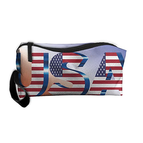 USA Flag Typography Oxford Cloth Portable Girl Women Travel Storage Bags Funny Calico Receiving Bag Wallets Purse Zipper Stationery Kits Makeup Bags Multi-function - Usa Shoping