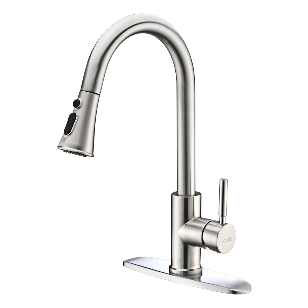 Kitchen Faucets with Pull Down Sprayer – Kablle Commercial Single Handle Brushed Nickel Kitchen Faucet, Single Level High Arch Pull Out Stainless Steel Kitchen Sink Faucets with Deck Plate