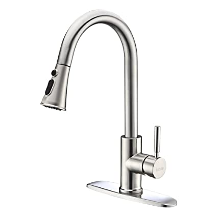 Kitchen Faucets With Pull Down Sprayer   Kablle Commercial Single Handle Brushed  Nickel Kitchen Faucet,