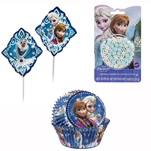 Wilton - Disney's Frozen Collection, Birthday Baking Combo Set, Frozen Snowflake Sprinkles, Cupcake Picks, and Cupcake Baking -