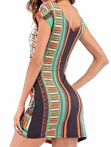 Bltr-femmes Mode Africaine Imprimé V Cou Plage Bodycon Été Mini Robe Orange