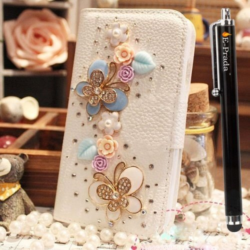 E-Prada Samsung Galaxy (S4 Mini) i9190 Jewelry Bling Diamond Gem Magnetic Flip Cards Slots Stand Leather Case Cover - Flowers and Butterfly