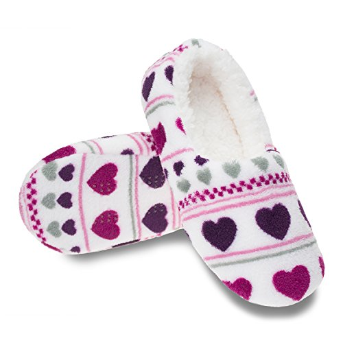Zegee Womens Indoor Soft Slippers Non-Slip Sole Cozy Warm Slip-On House Bedroom Fuzzy Slippers Hearts