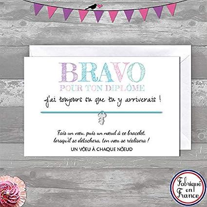carte félicitations réussite examen Carte de voeux BRAVO POUR TON DIPLOME + Bracelet porte bonheur 1