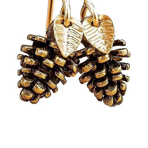 (Melanie Golden Jewelry Pinecone Earrings With Leaves in Brass and 14K Gold Fill)