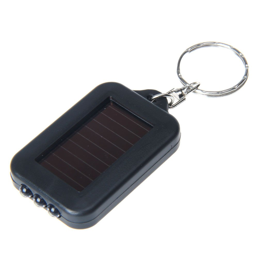 3 LED Keychain Lamp,100LM Portable Mini Light Key Ring Torch (Black)