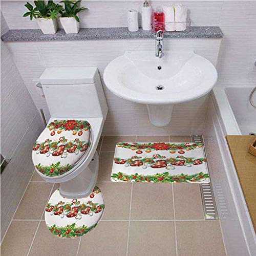Bath mat set Round-Shaped Toilet Mat Area Rug Toilet Lid Covers 3PCS,Christmas,Traditional Garland Designs with Flowers Socks and Bells Mistletoe Candy,Orange Red Green ,Elongated Toilet Lid Cover set