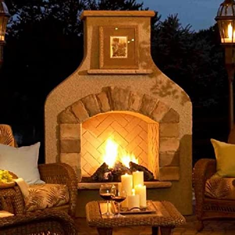 Amazon.com : Outdoor Greatroom Company Sonoma Gas Fireplace Surround in Mocha : Outdoor Fireplaces : Garden & Outdoor