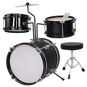 triprel inc kids 3 piece 8 inch drum set kit w cymbal drum throne black musical. Black Bedroom Furniture Sets. Home Design Ideas