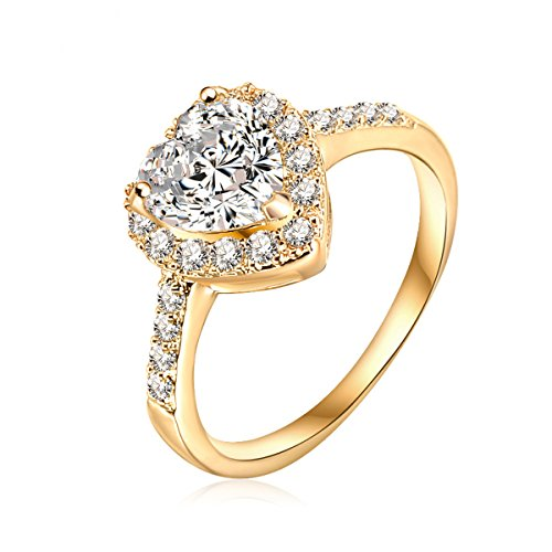 Gold Heart Fashion Ring (Mayfun Shiny Jewelry Heart Shaped faux Diamond Band Ring for Girls Women (Gold, 7))
