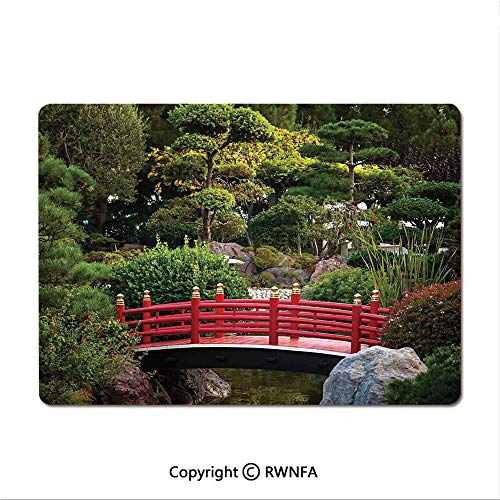 Waterproof Keyboard pad,Tiny Bridge Over Pond Japanese Garden Monte Carlo Monaco Along with Trees and Plants Decorative(9.8