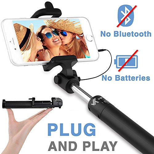 Voxkin Ultra Portable Wired Selfie Stick No Bluetooth Pairing - No Battery Charging Premium & Sturdy Design Best Pocket Sized Cable Monopod - Compatible with iPhone, Android & All SmartPhones from Voxkin