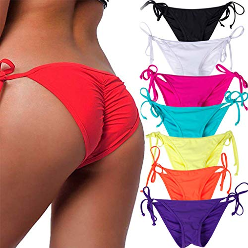 STARBILD Women's Sexy Brazilian Bikini Bottom with Tie-Side Cheeky V Cut Thong Swimsuit M Red