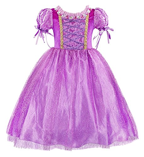 Cotrio Princess Rapunzel Dress Girls Birthday Party Halloween Costumes Outfits Toddler Kids Tangled Fancy Dresses Clothes Size 8 (17-8 Years, Purple, 130) -