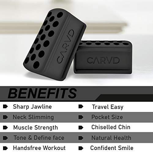 CARVD 2.0 Jaw Exerciser Tablets Define Your Jaw Line Extra Gentle Jaw Line Face Exerciser Black Intermediate
