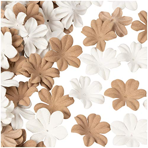 Decorative Craft Flowers - 100-Pack Flower Embellishment, Applique, Table Scatter, Artificial Flower Head for Scrapbooking, DIY, Wedding, Party, Home Decoration, White and Brown, 1 x 1 x 0.3 ()