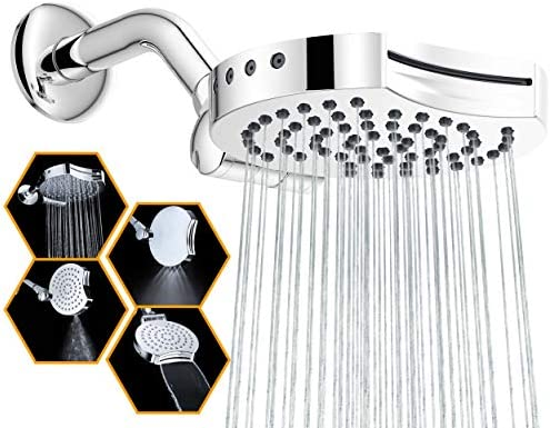 "Suptaps 6"" Inch High Pressure 4-Settings Rain Shower Head, Fixed Waterfall Showerhead - Wall Mount Adjustable 360 Degrees Direction with Easy Installation (Chrome)"