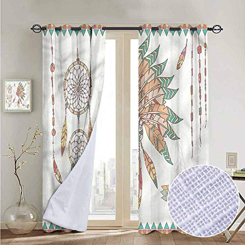 NUOMANAN Kitchen Curtains Feather,Tribal Chief Headdress,Rod Pocket Drapes Thermal Insulated Panels Home décor 84