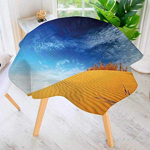 Round Tablecloth Polyester- Hot Desert with Sand Dunes and Dry Plants with Blue Sky Art Print Blue and Apricot Great for Buffet Table, Parties, Holiday Dinner & More 59