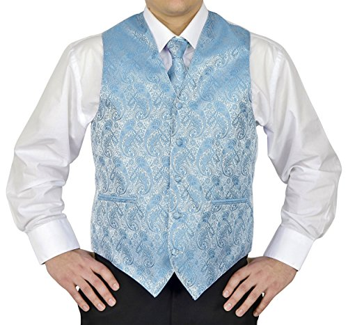 Moda Light Two - Moda Di Raza- 4Pc Mens Paisley Tuxedo Dress Suit, Vest, Hanky, Tie, Bow-Tie-Turquoise,  Medium.