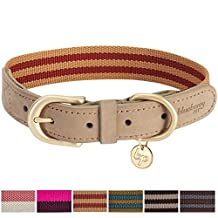 """Blueberry Pet Vintage Staple Striped Soft Genuine Leather and Polyester Dog Collar in Red and Brown, Small, Neck 12""""-15"""", Adjustable Collars for Dogs"""