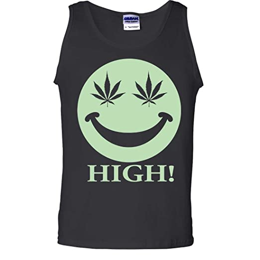 Glow in the Dark Stoner Smiley Face Tank Top - Black Large