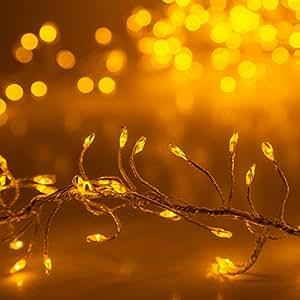 8' Fairy Lights String – LED Cluster Lights Christmas Lights – Fairy Lights for Decorating – Fairy Garland Lights (400 Gold Fairy Lights on Gold Wire)