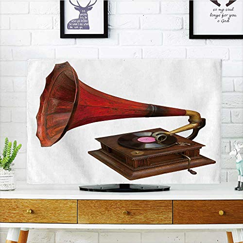 (Protect Your TV Gramophone with red Horn. Clipp Path Included Protect Your TV W25 x H45 INCH/TV 47