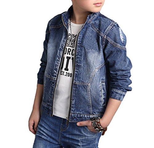 Boys Quality Classic Distressed Denim Trucker Jacket (8, Style (Boys Trucker Jacket)