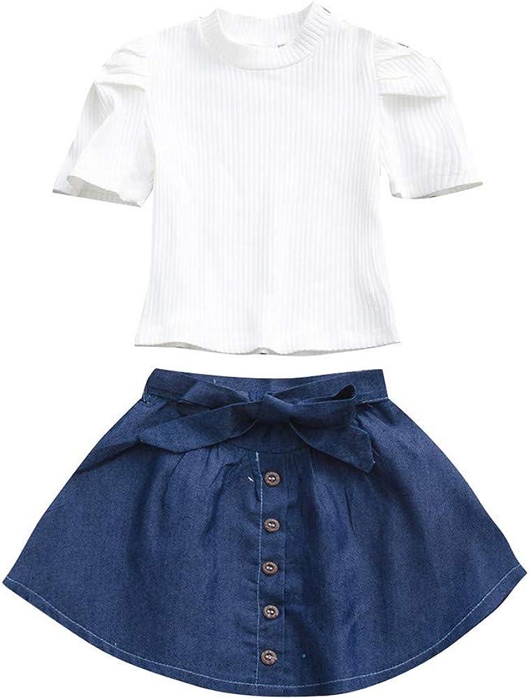 Heetey - Conjunto de Ropa de algodón monocromático para bebé, Camiseta de Manga Corta + Falda Vaquera Blanco 12 Meses: Amazon.es: Ropa y accesorios