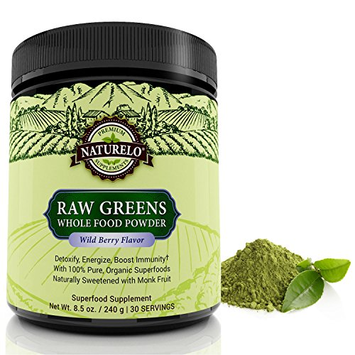 NATURELO Raw Greens Superfood Powder - Best Supplement to Boost Energy, Detox, Enhance Health - Organic Spirulina & Wheat Grass - Whole Food Vitamins from Fruit & Vegetable Extracts (Berry Wild Raw Extract)