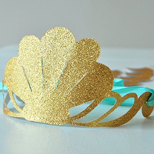 Mermaid Crown. Mermaid Party Favor. Glitter Gold Party Crown. 5CT.