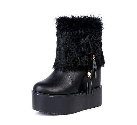 Botines Tobillos 13Cm Cuña Tacón Zapatos De Boda Mujer Redondo Toe 6Cm Plataforma Felpa Bowknot Nieve